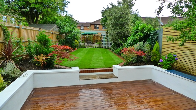 Planting and turfing landscape garden design chelsea and for Garden decking and grass